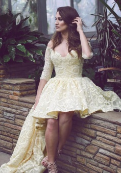 Stunning Off Shoulder Half Sleeves Hi-Low Light Yellow Lace Homecoming Dress