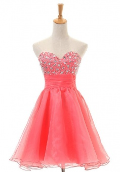 Hot Sale A-line Sweetheart Short Coral Organza Homecoming Dress with Beading