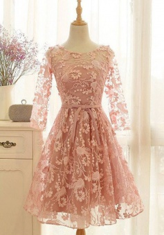 A-Line Crew Knee-Length 3/4 Sleeves Open Back Lace-Up Pink Lace Homecoming Dress