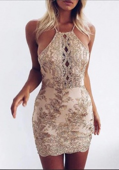 Sheath Halter Criss-Cross Straps Short Keyhole Champagne Homecoming Dress