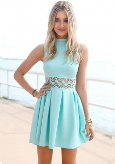 A-Line High Neck Mint Green Polyester Homecoming Dress with Lace