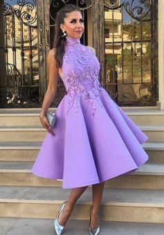 A-Line High Neck Tea-Length Sleeveless Purple Satin Homecoming Dress with Appliques