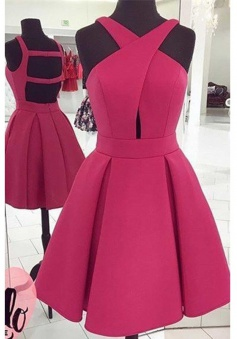 A-Line Halter Above-Knee Keyhole Open Back Fuchsia Satin Homecoming Dress