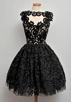 A-Line Jewel Knee-Length Sleeveless Keyhole Black Lace Homecoming Dress