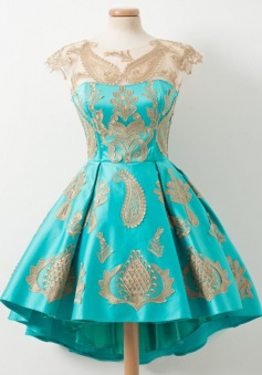 A-Line Crew Above-Knee Cap Sleeves High Low Turquoise Satin Homecoming Dress with Appliques