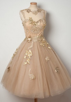 A-Line Jewel Tea-Length Open Back Champagne Tulle Homecoming Dress with Appliques