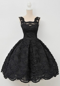 A-Line Square Knee-Length Sleeveless Open Back Black Lace Homecoming Dress