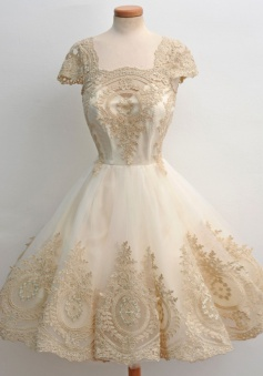 A-Line Square Knee-Length Cap Sleeves Champagne Tulle Homecoming Dress with Appliques