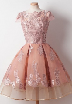 A-Line Bateau Knee-Length Cap Sleeves Pink Organza Homecoming Dress with Appliques
