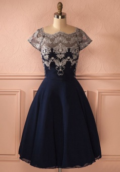 A-Line Square Tea-Length Short Sleeves Black Chiffon Homecoming Dress with Appliques