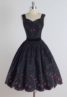A-Line Square Tea-Length Sleeveless Black Stretch Satin Homecoming Dress with Embroidery