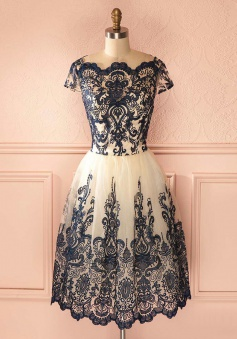 A-Line Bateau Tea-Length Cap Sleeves Ivory Tulle Homecoming Dress with Black Appliques
