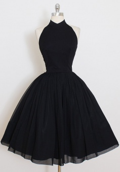 A-Line High Neck Knee-Length Sleeveless Black Chiffon Homecoming Dress