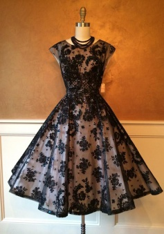 A-Line Crew Tea-Length Cap Sleeves Black Lace Homecoming Dress