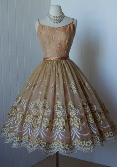 A-Line Spaghetti Straps Tea-Length Champagne Lace Homecoming Dress with Appliques