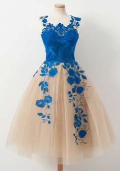 A-Line Scoop Knee-Length Champagne Tulle Homecoming Dress with Royal Blue Appliques