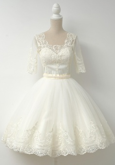 A-Line Square Knee-Length Half Sleeves Ivory Tulle Homecoming Dress with Beading