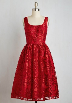 A-Line Square Knee-Length Sleeveless Red Lace Homecoming Dress