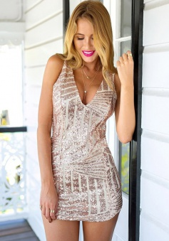 Sheath Deep V-Neck Short Sleeveless Pink Sequined Homecoming Dress