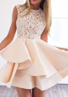 A-Line Crew Short Sleeveless Champagne Homecoming Dress with Lace