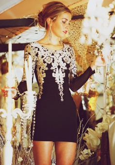 Sheath Crew Long Sleeves Short Black Stretch Satin Homecoming Dress with Appliques