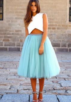 Two-Piece V-Neck Tea-Length Sleeveless Blue Tulle Homecoming Dress