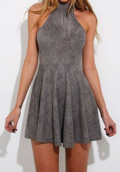A-Line High Neck Criss-Cross Straps Sleeveless Grey Suede Homecoming Dress