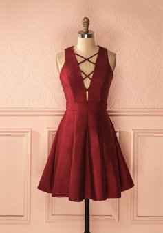 A-Line Deep V-Neck Sleeveless Lace-up Burgundy Satin Homecoming Dress