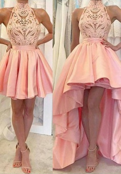 A-Line High Neck Sleeveless Short Pink Satin Homecoming Dress with Lace