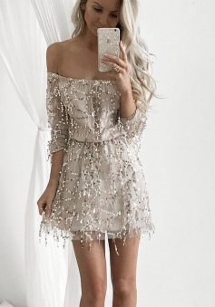 A-Line Off Shoulder Long Sleeves Light Champagne Sequined Homecoming Dress