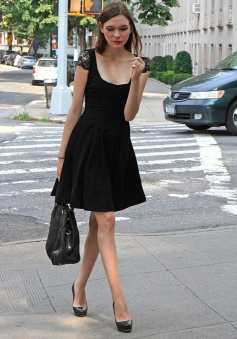 A-Line Scoop Cap Sleeves Polyester Little Black Dress with Lace