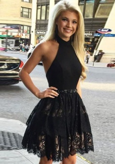 A-Line Halter Backless Short Black Satin Homecoming Dress with Beading Lace