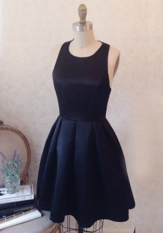 A-Line Jewel Round Neck Navy Blue Pleated Satin Homecoming Dress with Bowknot