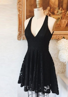 High Low V-Neck Criss-Cross Straps Lace Little Black Dress
