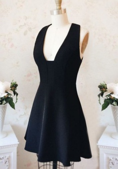 A-Line Square Satin Criss-Cross Straps Little Black Dress
