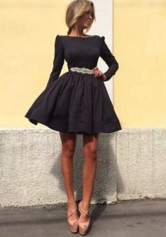 A-Line Bateau Long Sleeves Polyester Little Black Dress with Beading