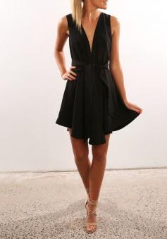 A-Line Deep V-Neck Polyester Little Black Dress with Sash