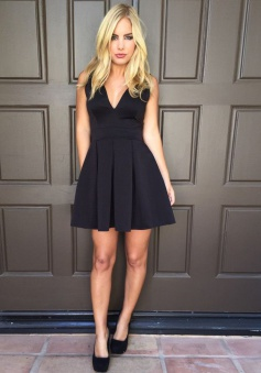 A-Line V-Neck Pleated Satin Backless Little Black Dress