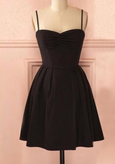 A-Line Spaghetti Straps Satin Little Black Dress with Lace