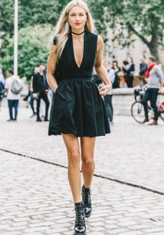 A-Line Deep V-Neck Satin Little Black Dress with Pockets