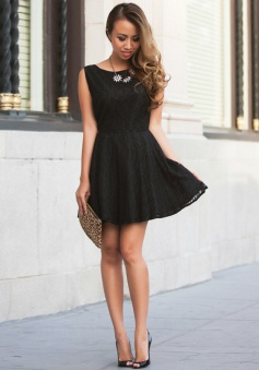 A-Line Bateau Backless Lace Little Black Dress