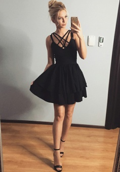 A-Line Straps Polyester Little Black Dress