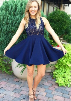 A-Line Scalloped-Edge Dark Blue Satin Homecoming Dress with Lace