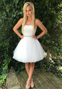 A-Line Strapless Short White Tulle Homecoming Dress with Beading