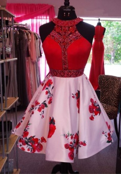 A-Line Jewel Short Pink Floral Satin Homecoming Dress with Beading