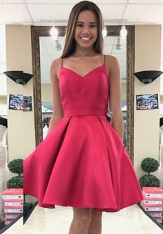 A-Line Open Back Short Red Satin Homecoming Dress with Bowknot Pockets