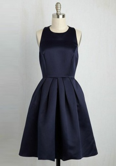 A-Line Round Neck Short Navy Blue Pleated Satin Homecoming Dress