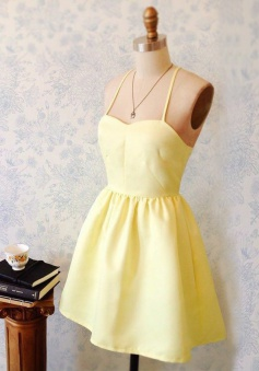 A-Line Spaghetti Straps Short Light-Yellow Satin Homecoming Dress