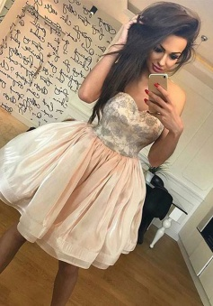 A-Line Sweetheart Light Champagne Organza Homecoming Dress with Lace