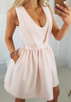 A-Line V-Neck Short Pearl Pink Satin Homecoming Dress with Pockets Cut Out